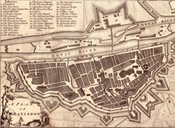 City of Regensburg (Ratisbon) from a 17th Century engraving.